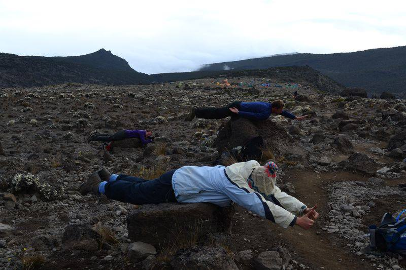 To my knowledge, the only photograph that exists of just the 3 of us - planking on Kili!